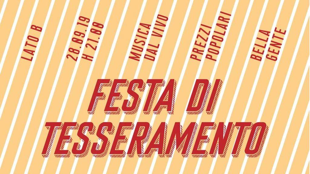 Festa di tesseramento Lato B, Arci Milano 2019/2020