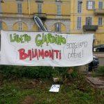 Striscione del Libero Giardino Baiamonti, promosso dal comitato Baiamonti Verde Comune assieme al Lato B
