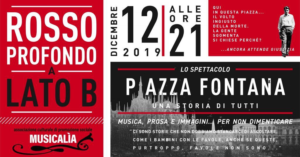 """In occasione del 50 esimo anniversario della strage di Piazza Fontana, il Lato B promuove lo spettacolo """"Piazza fontana, una storia di tutti"""" di Rosso Profondo"""